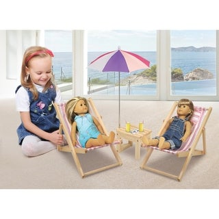 Badger Basket Summer Stripes Two Doll Beach Chair Set with Table and Umbrella