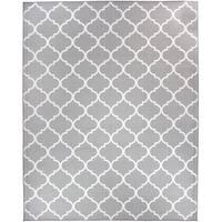 RUGGABLE Washable Indoor/ Outdoor Stain Resistant Pet Area Rug Moroccan Trellis Light Grey - 8' x 10'