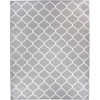 RUGGABLE Washable Indoor/ Outdoor Stain Resistant Pet Area Rug Moroccan Trellis Light Grey (8' x 10') - 8' x 10'