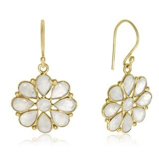 8 TGW Moonstone Flower Earrings In Yellow Gold Over Sterling Silver