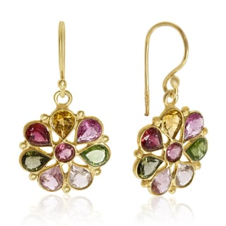 8 TGW Multi Gemstone Flower Earrings In Yellow Gold Over Sterling Silver