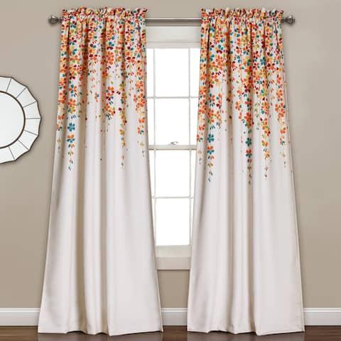 Lush Decor Weeping Flowers Room-darkening Window Curtain Panel Pair 84' in Turquoise/Tangerine (As Is Item)
