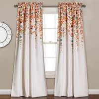 Lush Decor Weeping Flowers Room-darkening Window Curtain Panel Pair in 84' - Turquoise/Tangerine (As Is Item)