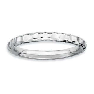 Sterling Silver Affordable Expressions Rhodium Hammered Ring