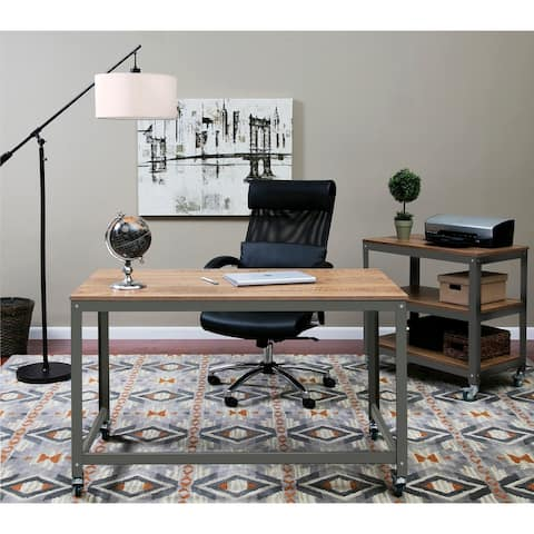 OneSpace 50-JN16DSK Black Steel and Wood Loft Writing Desk