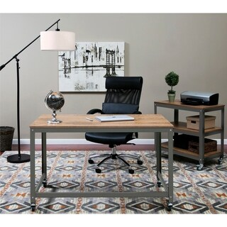OneSpace 50-JN16DSK Black Steel and Wood Loft Writing Desk