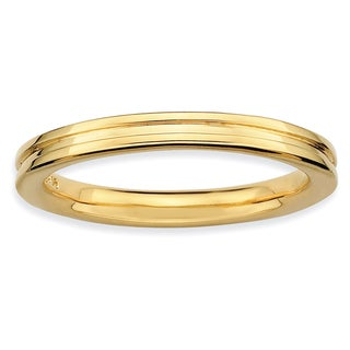Sterling Silver Affordable Expressions Gold-plated Grooved Ring