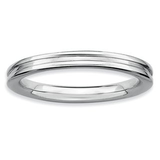 Sterling Silver Affordable Expressions Rhodium Grooved Ring