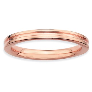 Sterling Silver Affordable Expressions Pink-plated Grooved Ring