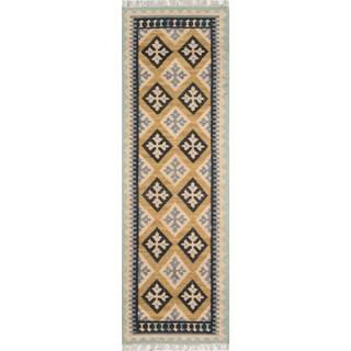 Momeni Caravan Gold Hand-Woven Wool Reversible Runner Rug (2'3 X 8')