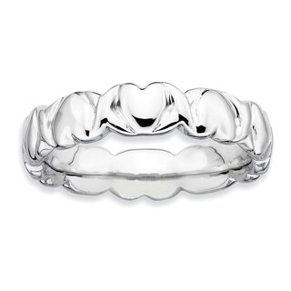 Sterling Silver Affordable Expressions Rhodium Hearts Ring
