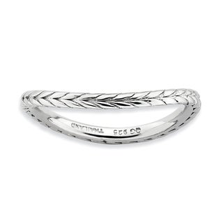 Sterling Silver Affordable Expressions Polished Rhodium-plate Wave Ring