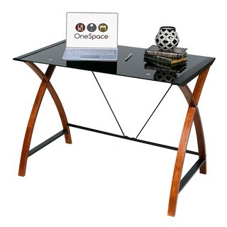 OneSpace Glass/Wood Computer Desk