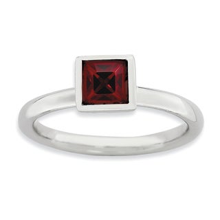 Sterling Silver Affordable Expressions Square January Swarovski Ring
