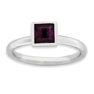 Sterling Silver Affordable Expressions Square February Swarovski Ring