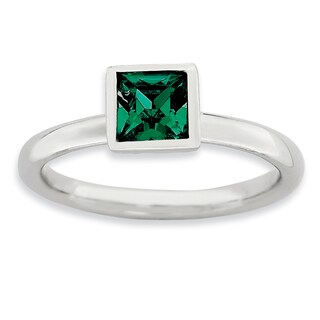 Sterling Silver Affordable Expressions Square May Swarovski Ring
