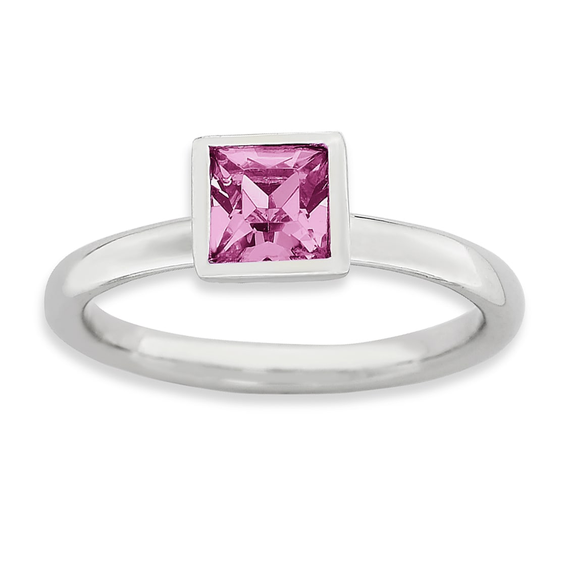 Sterling Silver Affordable Expressions Square October Swa...