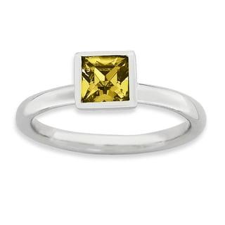 Sterling Silver Affordable Expressions Square November Swarovski Ring