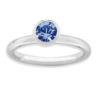 Sterling Silver Affordable Expressions High 5Mm September Swarovski Ring