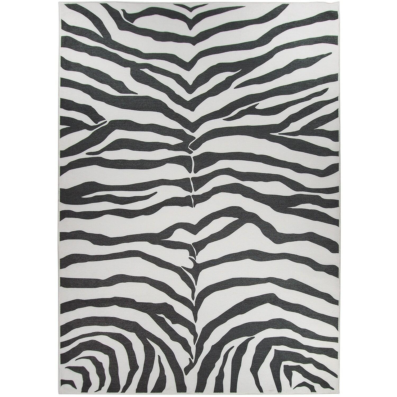 Ruggable Washable Indoor/ Outdoor Zebra Safari Black Stai...