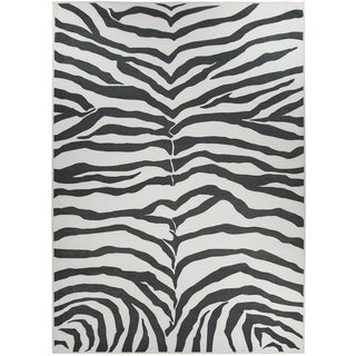 RUGGABLE Washable Indoor/ Outdoor Zebra Safari Black Stain Resistant Area Rug (5' x 7')