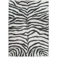RUGGABLE Washable Indoor/ Outdoor Stain Resistant Pet Area Rug Zebra Safari Black - 5' x 7'
