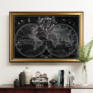 Monde Map - Gold Frame