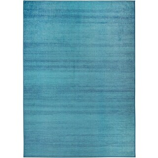 RUGGABLE Washable Indoor/ Outdoor Stain Resistant Pet Area Rug Solid Textured Ocean Blue (5' x 7') - 5' x 7'