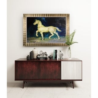 Plaster Satuette of a Horse -Antique Gold Frame