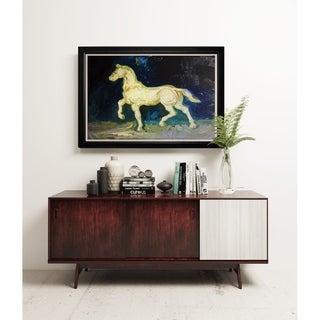 Plaster Satuette of a Horse - Black Frame
