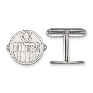 Sterling Silver NHL LogoArt Edmonton Oilers Cuff Links