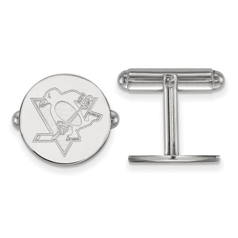 Versil Sterling silver NHL LogoArt Pittsburgh Penguins Cuff Links
