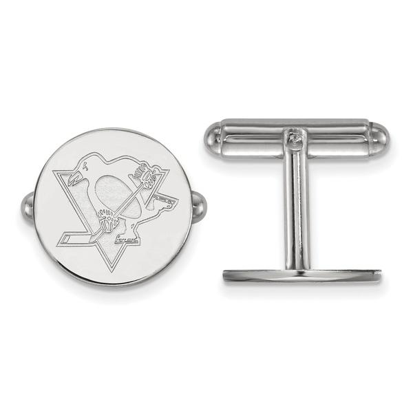 Versil Sterling silver NHL LogoArt Pittsburgh Penguins Cuff Links