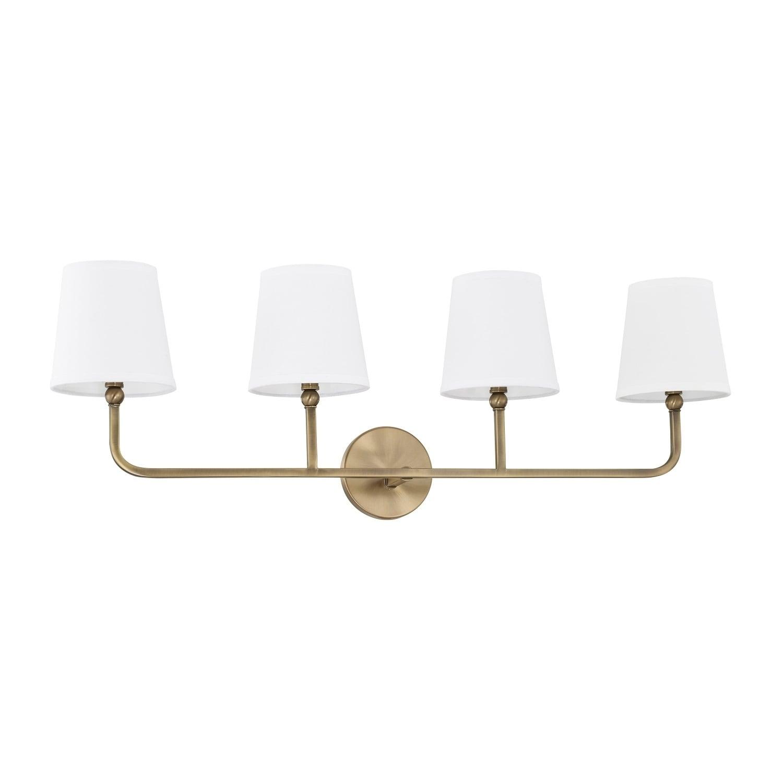 Dawson 4 Light Aged Brass Bath Vanity Fixture Overstock 15410443