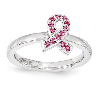 Sterling Silver Affordable Expressions Rose Crystal Ring