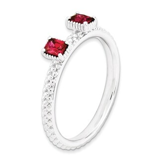 Sterling Silver Affordable Expressions Created Ruby Two Stone Ring