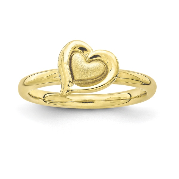 Sterling Silver Affordable Expressions Gold Plated Heart Ring