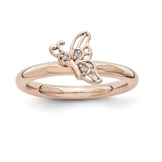 Sterling Silver Affordable Expressions Pink-plated Butterfly w/Diamond Ring