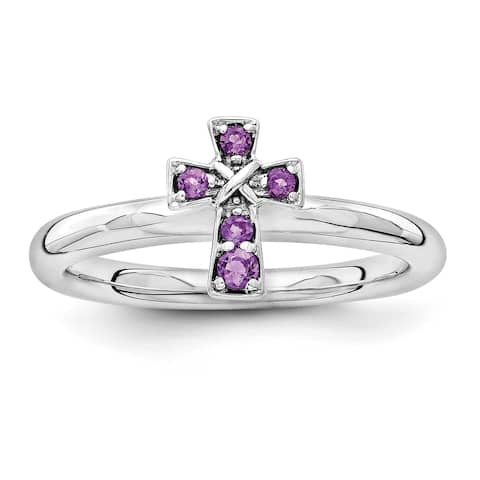 Sterling Silver Affordable Expressions Rhodium Amethyst Cross Ring