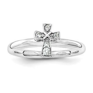Sterling Silver Affordable Expressions Rhodium White Topaz Cross Ring