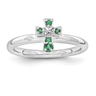 Sterling Silver Affordable Expressions Rho Created Emerald Cross Ring
