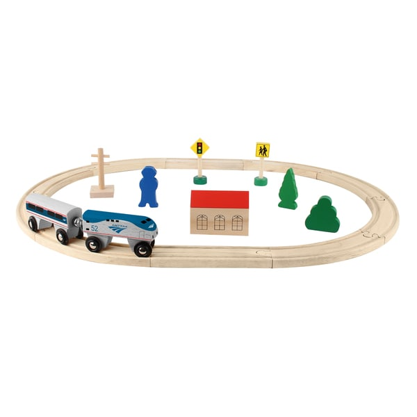 Daron Amtrak Wooden Train Set - 20 pieces