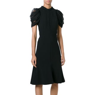 Alexander McQueen Women's Black Wool-blend Draped-sleeve A-line Dress