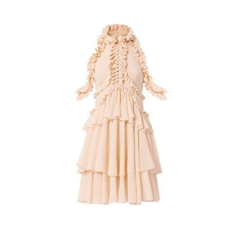 Alexander McQueen Women's Pink 100-percent Silk Ruffle Dress