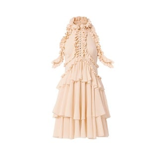 Alexander McQueen Women's Pink 100-percent Silk Ruffle Dress