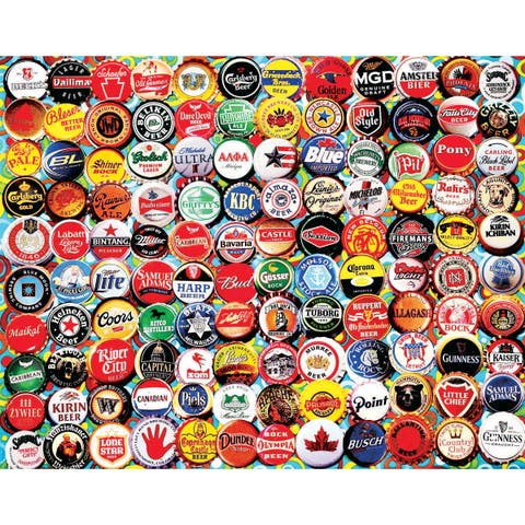 White Mountain Puzzles Beer Bottle Caps - 550 Piece Jigsaw Puzzle - Assorted