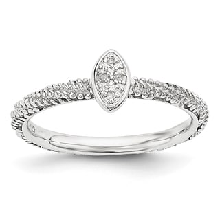 Sterling Silver Diamond Stackable Experssions Textured Ring