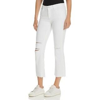J Brand Selena White Ripped Crop Bootcut Jeans