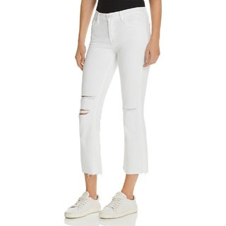 J Brand Selena White Ripped Crop Bootcut Jeans (4 options available)
