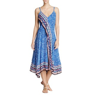 French Connection Women's Blue Viscose Bali Border Print Midi Dress